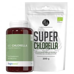 Chlorella Super Pakke - Glas og pose - 375 kapsler - 200g pulver