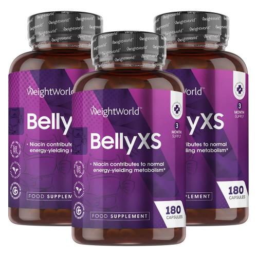 Fødevarer, drikkevarer & tobaksprodukter Belly XS - Naturlig Fedtforbrænding Piller Mod Mavefedt - 3x60 Slanke Piller - 100 & Naturligt - Med Koffein, Grøn Te & Guarana - Hjælp Til Vægttab