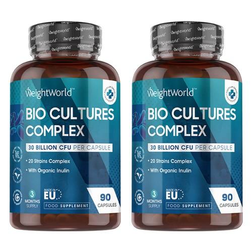 Fødevarer, drikkevarer & tobaksprodukter Bio Culture Complex - Mave-venlig Vegansk Formel - 30 milliarder CFU - 180 Kapsler - 2 Pak