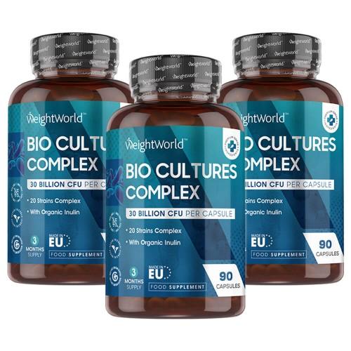 Fødevarer, drikkevarer & tobaksprodukter Bio Culture Complex - Mave-venlig Vegansk Formel - 30 milliarder CFU - 270 Kapsler - 3 Pak