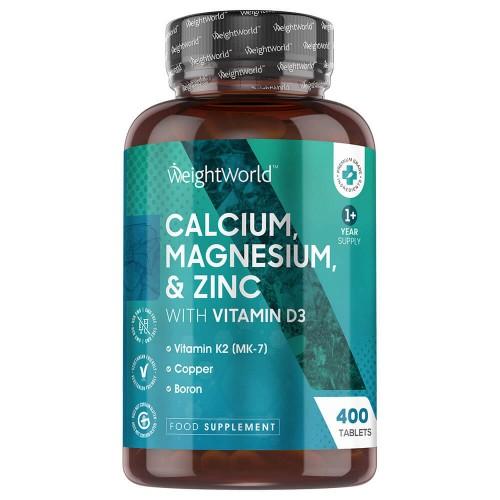 Sundhed & velvære Kalcium, Magnesium & Zink med D3-Vitamin - Naturligt Tilskud til Velvære - 400 Kapsler