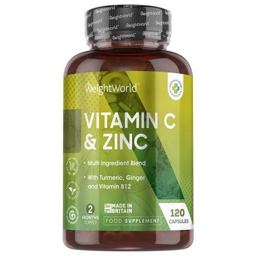 Fødevarer, drikkevarer & tobaksprodukter C-vitamin og zink kapsler l Tilskud til immunforsvaret l 120 kapsler l Weightworld